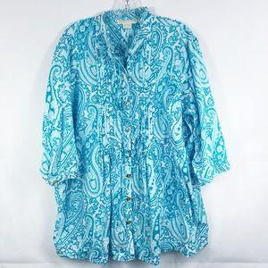 3/30 Michael Kors | Blue Paisley Print Blouse